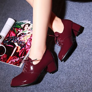 Burgundy Patent Leather Oxford Heels Lace up Block Heel Vintage Shoes