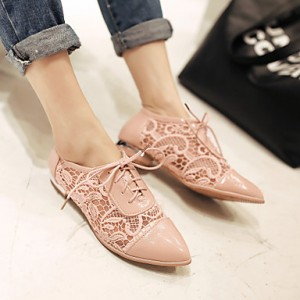 Nude Pink Lace Vintage  Flats Women's Oxfords