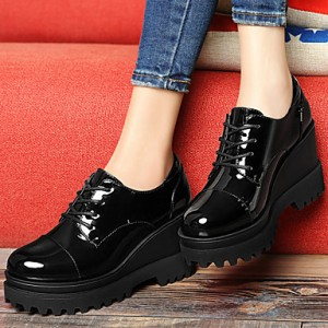 Women's Black Patent Leather Wedge Heel Women's Brogues Vintage Shoes