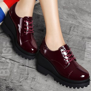 Women's Maroon Patent Leather Wedge Heels Brogues Shoes