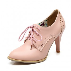Pink Vintage Heels Women's Oxfords Lace-up Ankle Booties