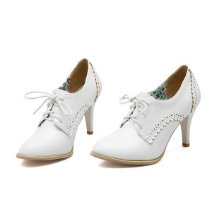 Women's White Lace Up Cone Heel Brogues Vintage Shoes
