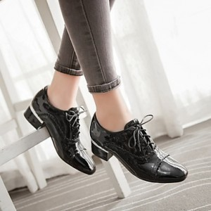 Women's Brogues Black Lace Up Chunky Heel Vintage Shoes