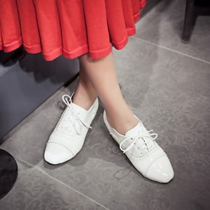 White School Shoes Lace-up Oxfords Square Toe Vintage Shoes