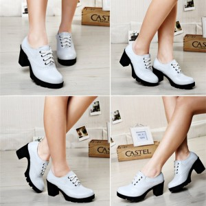 White Block Heel Round Toe Wingtip Shoes Lace up Heeled Oxfords