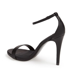 Black Ankle Strap Sandals Open Toe Sexy Stiletto Heels