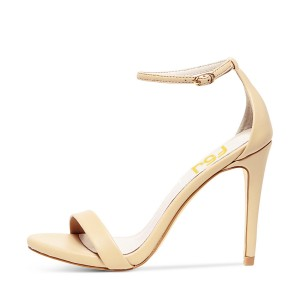 Women's Beige Open Toe Commuting Stiletto Heels Ankle Strap Sandals