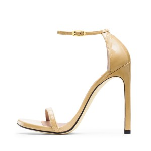 Women's Khaki Ankle Strap Heels Open Toe Stiletto Evening Sandals