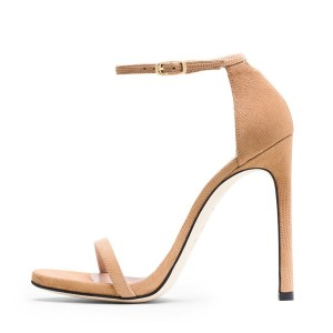 Women's Nude Open Toe Stiletto Evening Heel  Ankle Strap Sandals