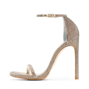 Champagne Ankle Strap Sandals Open Toe Stiletto Heels for Women