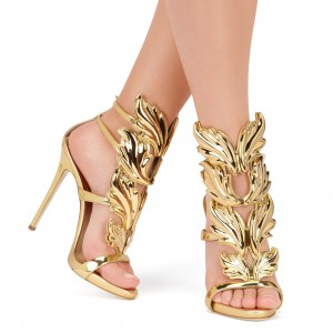 Gold Evening Shoes Luxury Metallic Heels Stiletto Sandals for Party