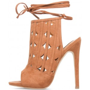 Women's Khaki Peep Toe Slingback Hollow Out Strappy Shoes