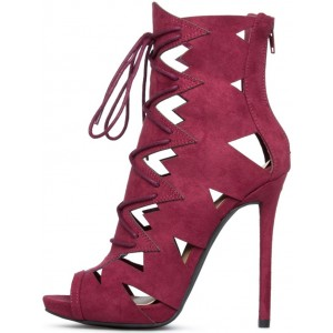 Burgundy Lace up Sandals Stiletto Heels Hollow out High Heel Shoes