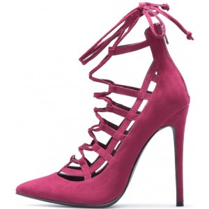 Women's Burgundy Lace Up Sandals Pointy Toe Suede Stilettos Pumps