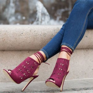 Women's Plum Slingback Hollow Out Ankle Straps Boots