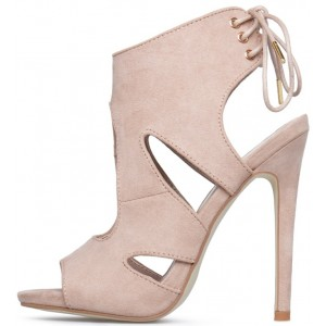 Beige Stiletto Heels Suede Open Toe Cutout  Slingback Sandals