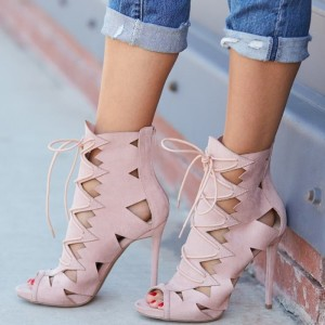 Pink Lace up Sandals Hollow out Suede Peep Toe Stiletto Heels
