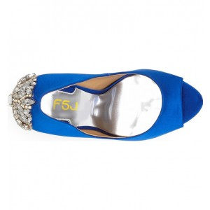 Women's Royal Blue Formal Shoes Rhinestone Wedding Shoes
