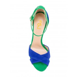 Blue and Green Ankle Strap Sandals 4 Inches Stiletto Heels Suede Shoes