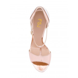 Women's Pink Formal Shoes Peep Toe Sweet T-Strap Sandals