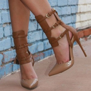 Women's Brown and Khaki Buckle Pointed Toe Stiletto Heels Shoes