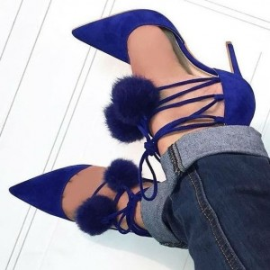 Royal Blue Pom Pom Shoes Lace up Strappy Stiletto Heel Pumps