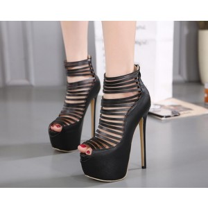 Black Strappy Heels Peep Toe Stilettos Platform High Heel Shoes for Night Club