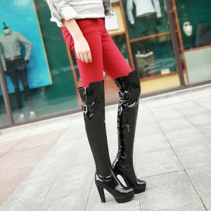 Women's Black Patent Leather Over-The-Knee Sexy Stripper Heels Boots