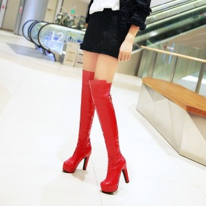 Red Stripper Shoes Patent Leather Chunky Heel Over-the-knee Boots