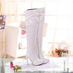 Women's White Patent Leather Stiletto Heel  Over-The-Knee 4 Inch Heels Stripper Boots