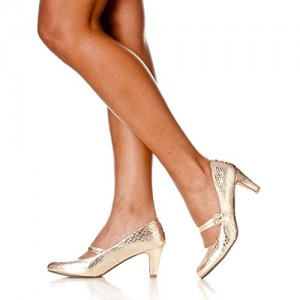 Golden Mid Heel Women's Mary Jane Pumps Vintage Heels