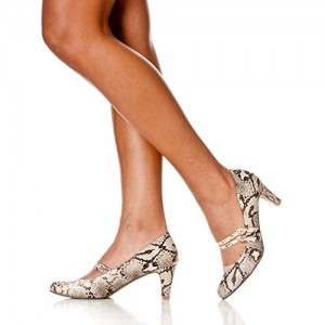 Python Mid Heel Women's Mary Jane Pumps Vintage Heels