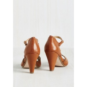 Women's Brown Cone Heel Peep Toe Vintage Shoes