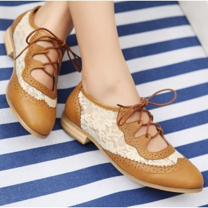 Women's Oxfords Brown Vintage Shoes Lace-up Comfortable Flats by FSJ