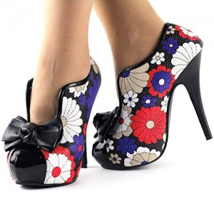 Women's Vintage Shoes Floral Bows Platform Pumps Stiletto Heels