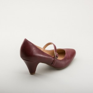 Burgundy Mary Jane Pumps Cone Heel Vintage Shoes for Women
