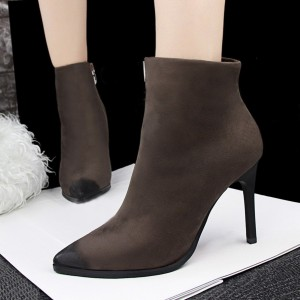 Brown Stiletto Boots Pointy Toe Suede Vintage Ankle Booties