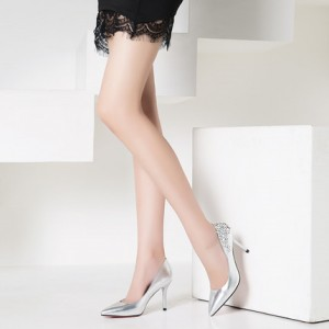Women's Silver Floral Elegant Pointed Toe Stiletto Heel Bridal Shoes