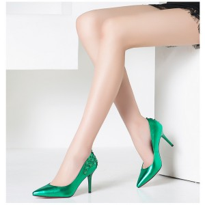 Green Floral Heels Pointy Toe Stiletto Heels Pumps for Women
