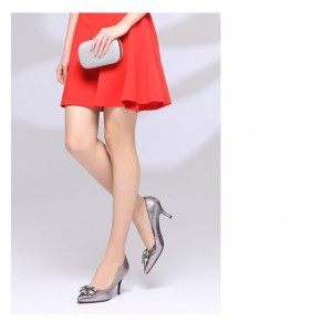 Vita Grey Mirror Leather Crystal Square Buckle Stiletto Heel Wedding Shoes