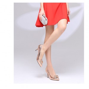 Champagne Mirror Leather Crystal Square Buckle Stiletto Heel Wedding Shoes