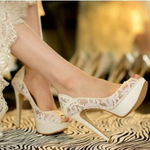 White Bridal Shoes Platform Peep Toe Pumps Lace Heels for Wedding