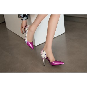 Women's Rose Floral-print Stiletto Heels Pointed Toe Low-cut Pumps