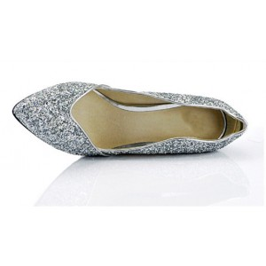 Sliver Sparkly Heels Pointy Toe Glitter Pumps for Big Day