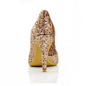 Golden Glitter Evening Shoes Pointy Toe Stiletto Heels