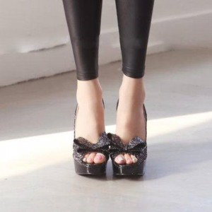 Leila Black Glitter Bow Peep Toe Platform Pumps