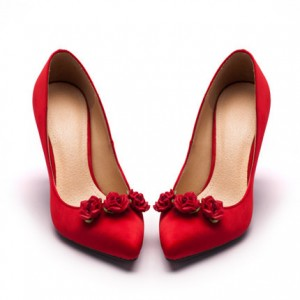 Red Wedding Heels Satin Floral Pumps Stiletto Heels Shoes for Bridesmaid