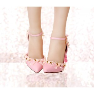 Pink Wedding Heels Tassels Stilettos Closed Toe Sandals for Bridesmaid