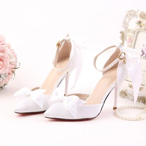 Women's White Satin Wedding Shoes Bow Stiletto Heels Ankle Strap Pumps