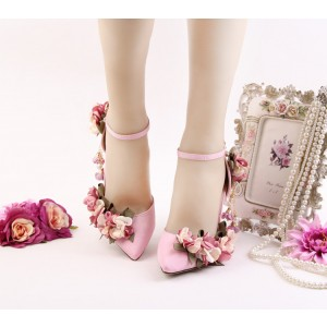 Women's Pink Romantic Floral Stiletto Heel Wedding Shoes